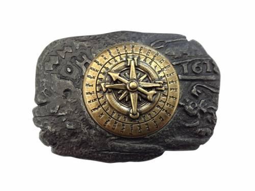 Gürtelschließe Metall schwarz/goldfarben Kompass-Motiv passend für Gürtelbreite 40 mm - Bild vergrößern