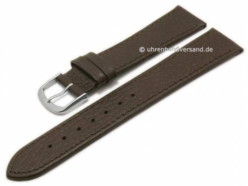 Basic Uhrenarmband 18mm dunkelbraun Leder genarbt abgenäht (Schließenanstoß 16 mm) - Bild vergrößern