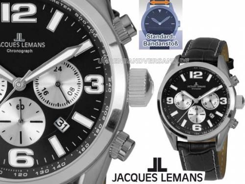 Chronograph Ziffernblatt schwarz/silber sportlich-elegantes Design von Jacques Lemans (*JL*HU*) - Bild vergrößern