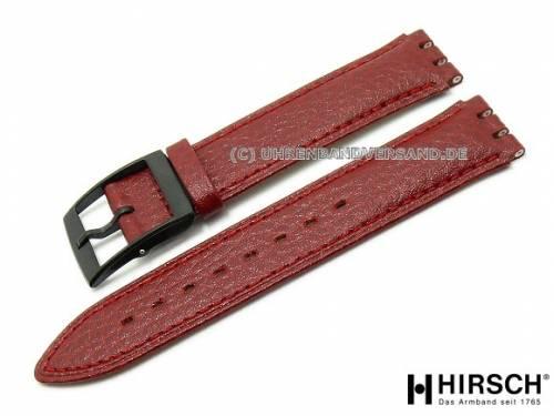 Uhrenarmband -Andrew- 17mm rot Kalbleder passend für Swatch von HIRSCH (Schließenanstoß 18 mm) - Bild vergrößern