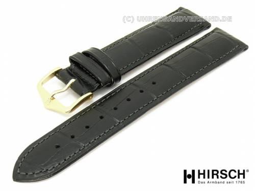 Uhrenarmband (010-28) Duke 18mm schwarz Leder Alligator-Prägung mit EASY-CLICK-Stegen HIRSCH (Schließenanstoß 16 mm) - Bild vergrößern
