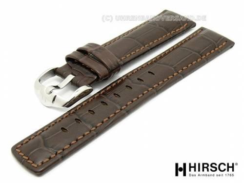 Uhrenarmband XL -Grand Duke- 22mm dunkelbraun Alligatorprägung hellbraune Naht von HIRSCH (Schließenanstoss 20 mm) - Bild vergrößern