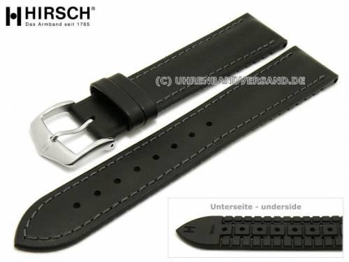 Uhrenarmband -James- 20mm schwarz Leder/Kautschuk glatt matt graue Naht von HIRSCH (Schließenanstoß 18 mm) - Bild vergrößern
