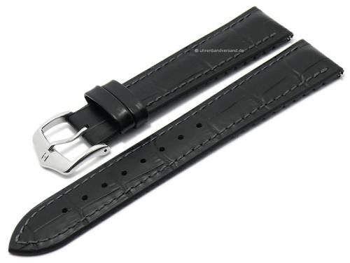 Uhrenarmband -Paul- 20mm schwarz Leder/Kautschuk Alligator-Prägung graue Naht von HIRSCH (Schließenanstoß 18 mm) - Bild vergrößern