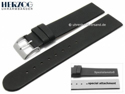 Uhrenarmband -Design II Spezial- 20mm schwarz Leder Spezialanstoß für verschr. Gehäuse HERZOG (Schließenanstoß 20 mm) - Bild vergrößern