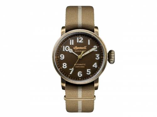 Automatik-Armbanduhr Edelstahl messingfarben matt Antik-Look Ziffernblatt braun von INGERSOLL (*IN*HU*) - Bild vergrößern