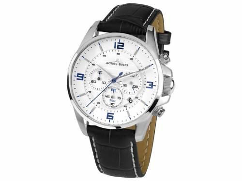 Chronograph Liverpool Ziffernblatt weiß Lederband von Jacques Lemans (*JL*DU*) - Bild vergrößern