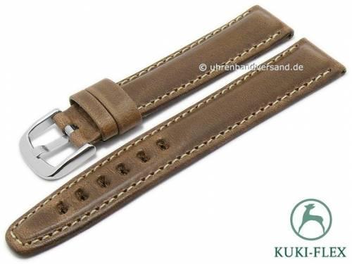 Manufaktur-Uhrenarmband 24mm hellbraun HORWEEN CHROMEXCEL Leder KUKI-FLEX helle Naht von KUKI (Schließenanstoß 20 mm) - Bild vergrößern