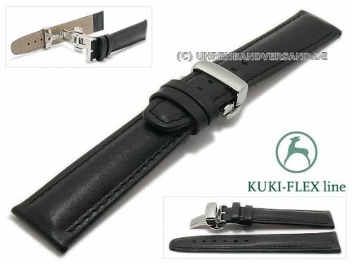 Uhrenarmband 21mm schwarz Leder KUKI-FLEX Patent mit Faltschließe von KUKI (Schließenanstoß 18 mm) - Bild vergrößern