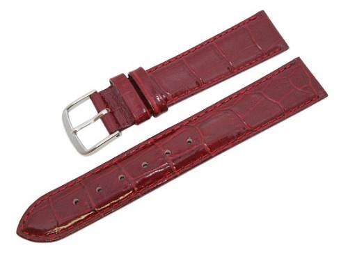 Uhrenarmband -Alligator Elegance- XL 22mm weinrot Alligator-Prägung (Schließenanstoß 20 mm) - Bild vergrößern