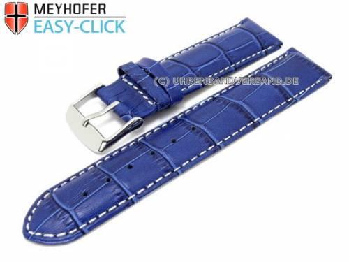 Uhrenarmband Meyhofer EASY-CLICK -Marseille- 18mm blau Alligator-Prägung weiße Naht (Schließenanstoß 18 mm) - Bild vergrößern