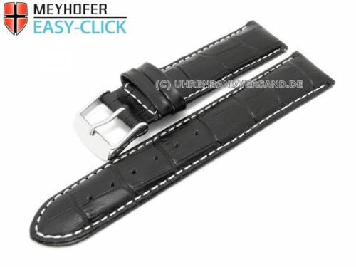Uhrenarmband Meyhofer EASY-CLICK -Marseille- 22mm schwarz Alligator-Prägung weiße Naht (Schließenanstoß 20 mm) - Bild vergrößern