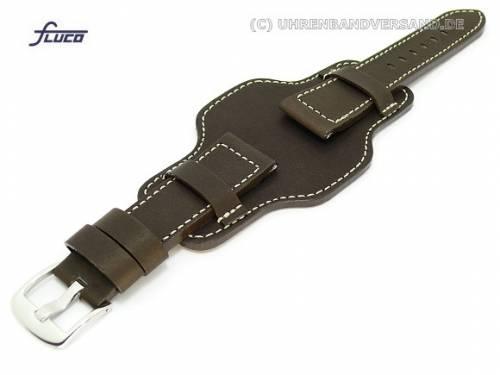 Uhrenarmband 22mm dunkelbraun Fliegerbandoptik robust helle Naht mit asymmetrischer Lederunterlage - Bild vergrößern