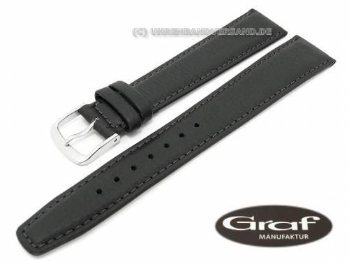 Uhrenarmband -Toledo- 17mm schwarz XL fein genarbt von Graf (Schließenanstoß 16 mm) - Bild vergrößern