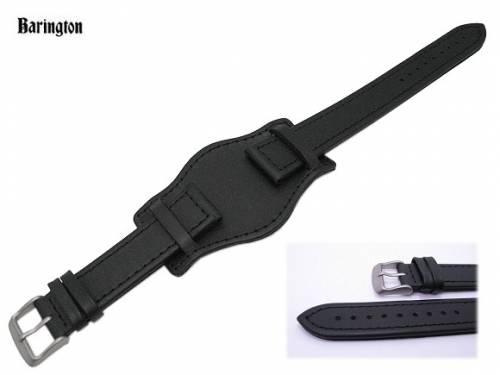 Uhrenarmband 20mm schwarz Eulit Fliegerbandoptik mit Lederunterlage (Schließenanstoß 18 mm) - Bild vergrößern