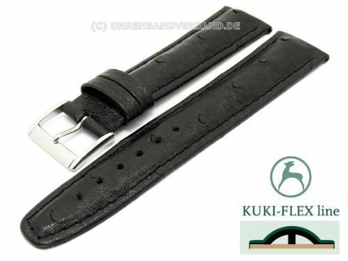 Uhrenarmband 22mm schwarz echt Strauß mit Kuki Flex-Patent abgenäht von KUKI (Schließenanstoß 20 mm) - Bild vergrößern