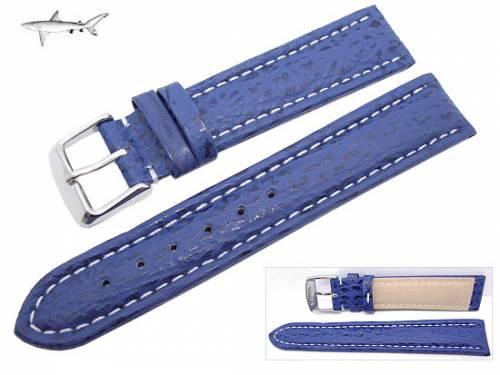 Uhrenarmband XL 24mm blau echt Hai weiße Naht (Schließenanstoß 22 mm) - Bild vergrößern