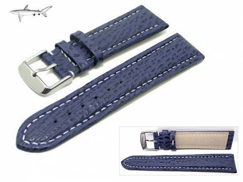 Uhrenarmband 24mm dunkelblau echt Hai weiße Naht (Schließenanstoß 22 mm) - Bild vergrößern