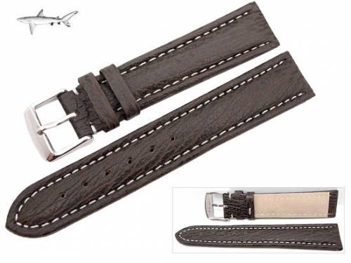 Uhrenarmband XL 22mm dunkelbraun echt Hai weiße Naht (Schließenanstoß 20 mm) - Bild vergrößern