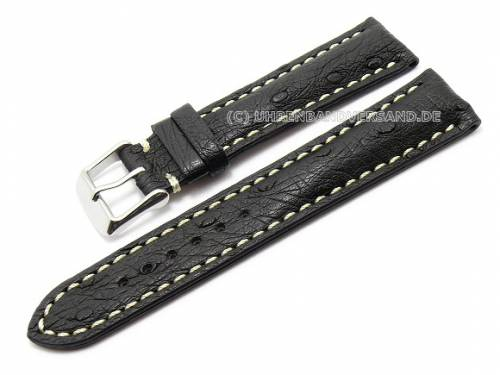 Uhrenarmband 24mm schwarz echt Strauß weiße Naht (Schließenanstoß 20 mm) - Bild vergrößern