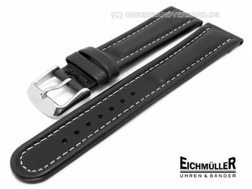 Uhrenarmband XL 18mm schwarz wasserfest weiße Naht von Eichmüller (Schließenanstoß 16 mm) - Bild vergrößern