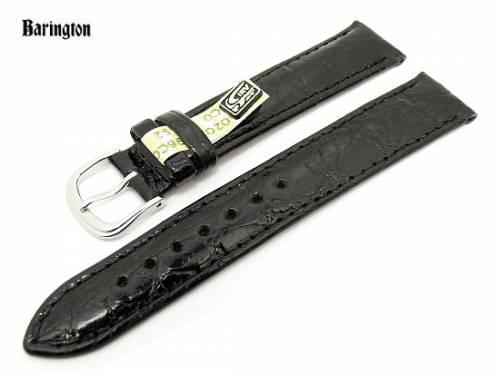 Uhrenarmband 19mm schwarz Barington echt Krokodilleder glänzend (Schließenanstoß 16 mm) - Bild vergrößern