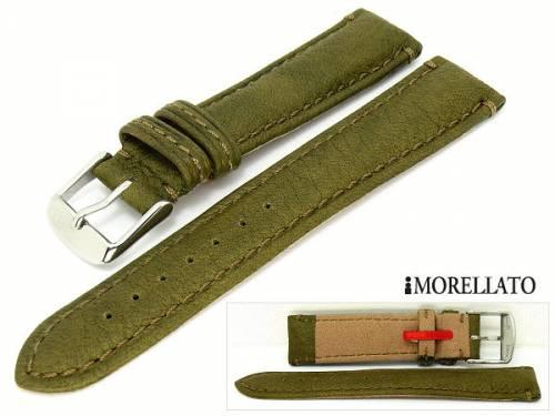 Uhrarmband 22mm oliv-grün -Cervo- echt Hirsch grob genarbt weich von MORELLATO (Schließenanstoß 20 mm) - Bild vergrößern