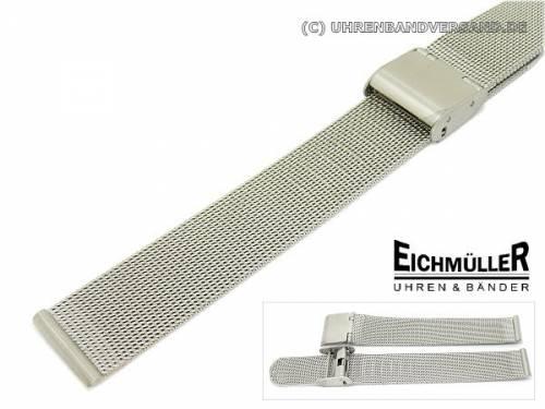 Uhrenarmband 12mm Edelstahl Milanaise elegant Schiebeverschluss - Bild vergrößern