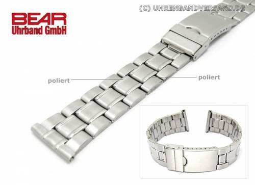 Edelstahl-Uhrband XL 22mm gebürstet teilweise poliert sportlich-elegant von BEAR - Bild vergrößern