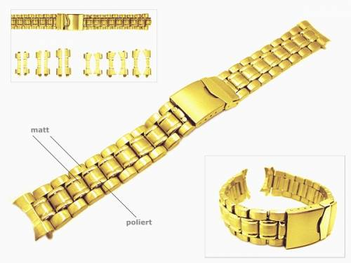 Uhrenarmband 18-22mm Edelstahl vergoldet EULIT teilweise poliert Wechselanstoß rund/gerade - Bild vergrößern