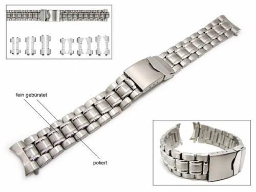 Uhrenarmband 18-22mm Edelstahl EULIT teilweise poliert Wechselanstoß rund/gerade - Bild vergrößern