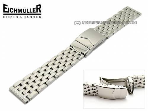 Uhrenarmband Edelstahl 20mm poliert massiv mit Sicherheitsfaltschließe von Eichmüller - Bild vergrößern