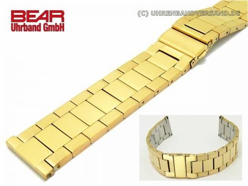 Edelstahl-Uhrenarmband 24mm vergoldet massiv poliert schlicht-elegant von BEAR - Bild vergrößern