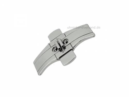 Butterfly-Faltschließe (CsMFS1000) 22/06mm Edelstahl mit Drückern poliert für Metallbänder - Bild vergrößern