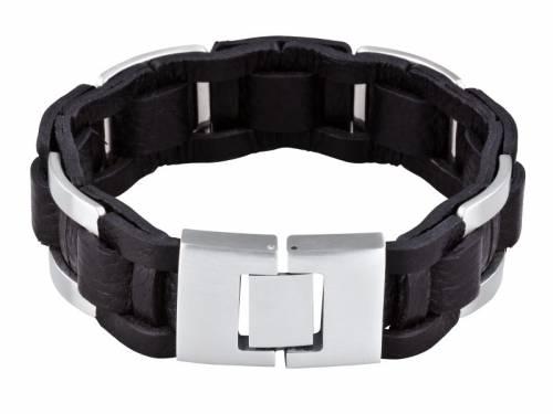 Schmuck-Armband Leder schwarz/silberfarben genarbt Durchschub-Klappverschluß Edelstahl MABRO Steel - Bandlänge ca. 23cm - Bild vergrößern
