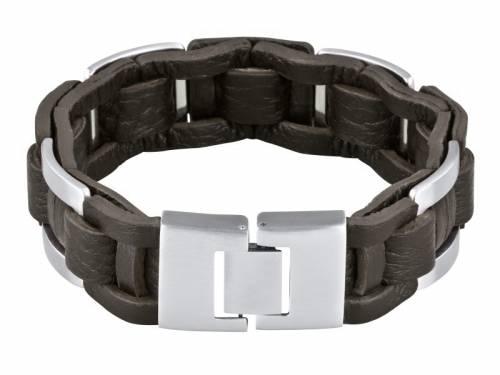 Schmuck-Armband Leder dunkelbraun/silberfarben Durchschub-Klappverschluß Edelstahl MABRO Steel - Bandlänge ca. 23cm - Bild vergrößern