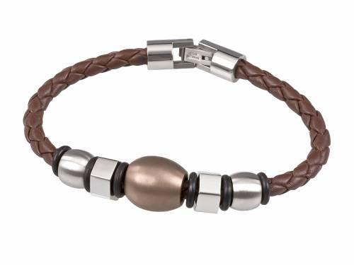 Schmuck-Armband Leder mittelbraun geflochten Durchschub-Klappverschluß Edelstahl von MABRO Steel - Bandlänge ca. 21cm - Bild vergrößern