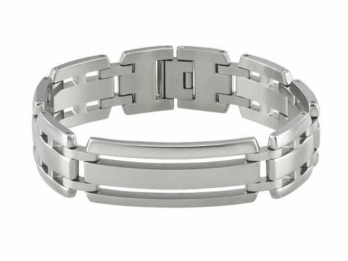 Schmuck-Armband Edelstahl silberfarben massiv Durchschub-Klappverschluss Edelstahl von MABRO Steel - Bandlänge ca. 21cm - Bild vergrößern