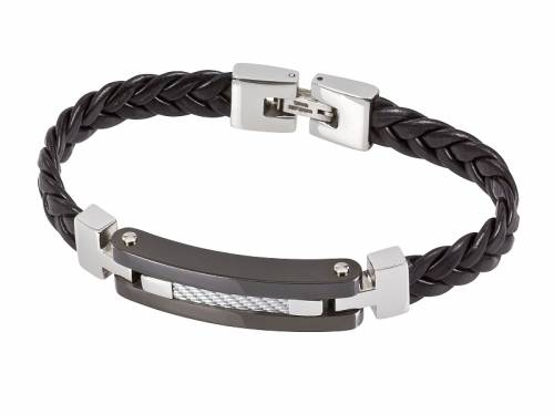 Schmuck-Armband Lackleder schwarz geflochten Durchschub-Klappverschluß Edelstahl MABRO Steel - Bandlänge ca. 21cm - Bild vergrößern