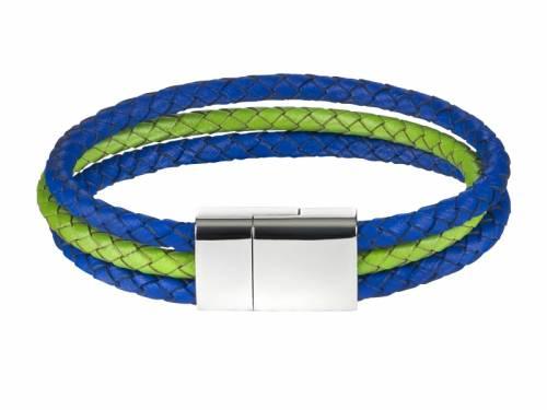 Schmuck-Armband Leder mittelblau/hellgrün geflochten Magnet-Verschluss Edelstahl von MABRO Steel - Bandlänge ca. 19cm - Bild vergrößern