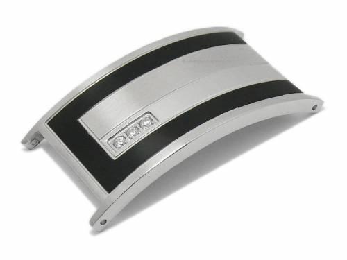 Schmuckplatte silber/schwarz Edelstahl für Uhrenarmband 20mm - Machen Sie Ihr Uhrenarmband zum Schmuckstück! - Bild vergrößern