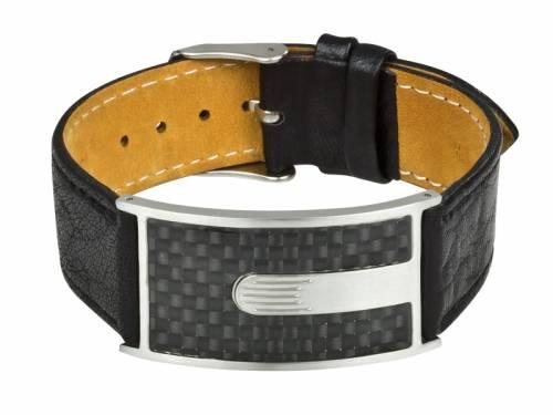 Leder-Uhrenarmband schwarz mit Schmuckplatte und Dornschließe als Schmuckband von MABRO Steel - Bandlänge ca. 22cm - Bild vergrößern