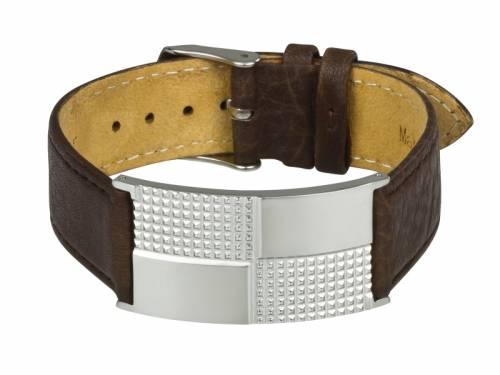 Leder-Uhrenarmband dunkelbraun mit Schmuckplatte und Dornschließe als Schmuckband von MABRO Steel - Bandlänge ca. 22cm - Bild vergrößern