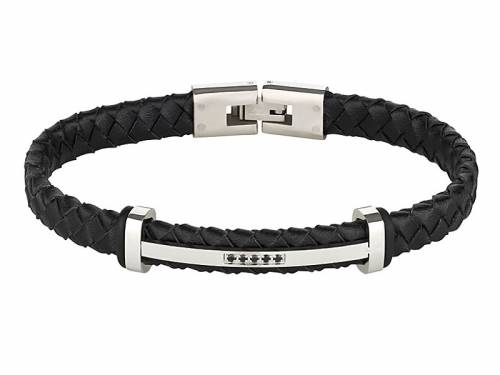 Schmuck-Armband Leder schwarz geflochten Durchschub-Klappverschluß Edelstahl von MABRO Steel - Bandlänge ca. 21cm - Bild vergrößern