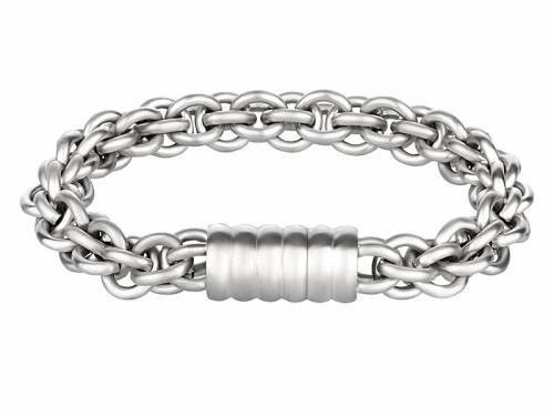 Schmuck-Armband Edelstahl silberfarben Schmuck-Kette Magnet-Verschluss Edelstahl von MABRO Steel - Bandlänge ca. 19cm - Bild vergrößern