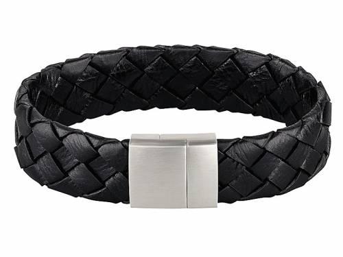 Schmuck-Armband Leder schwarz geflochten Magnet-Verschluss Edelstahl von MABRO Steel - Bandlänge ca. 21cm - Bild vergrößern