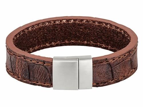 Schmuck-Armband Leder dunkelbraun Alligator-Prägung Magnet-Verschluss Edelstahl von MABRO Steel - Bandlänge ca. 21cm - Bild vergrößern