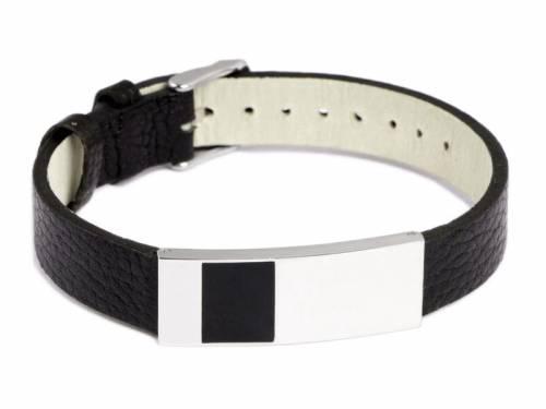Schmuck-Armband Leder schwarz/silberfarben Dornschließe Metall von MABRO Steel - Bandlänge ca. 21cm - Bild vergrößern