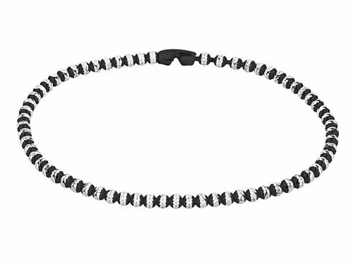 Schmuck-Armband 925er Silber silber/schwarz rhodiniert Kalotten-Verschluss Silber MABRO Steel - Bandlänge ca. 19cm - Bild vergrößern