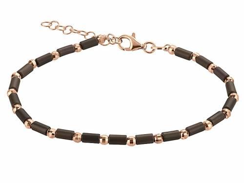 Schmuck-Armband 925er Silber roségoldfarben/braun Karabiner-Verschluss Silber von MABRO Steel - Bandlänge ca. 19cm - Bild vergrößern